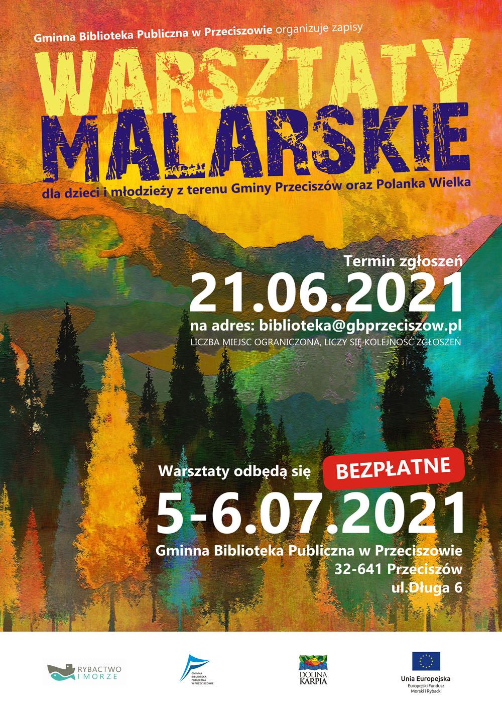 Plakat warsztatów malarskich